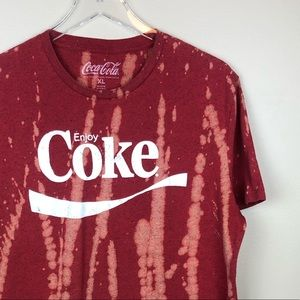 CUSTOM Bleached Coca Cola Graphic Tee XL Red
